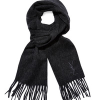 Yves Saint Laurent Men's Wool Embroidered Logo Fringed Scarf - Dark Grey
