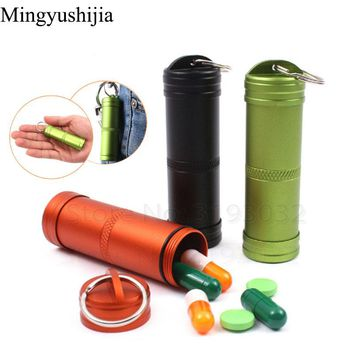 Hike gear outdoor CNC Cans Pill Bottle Tank Box Bushcraft climb Emergency Survival Camp tool EDC Keychain Waterproof Container