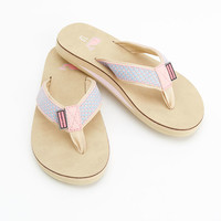 Girls Pink Whales Natural Flip Flops