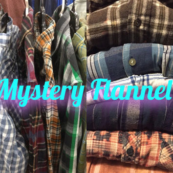 Mystery Flannel Shirt, 90s Grunge. Plaid Shirt, Random Button Down, Vintage Flannel, Unisex Flannel