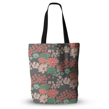 "Zara Martina Mansen ""Natures Bouquet"" Coral Green Everything Tote Bag"