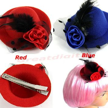 2PCS Girls Stage Show Hair Clips Lady Feather Rose Mini Top Hat Fascinator Party Costume Fashion Hair Accessories