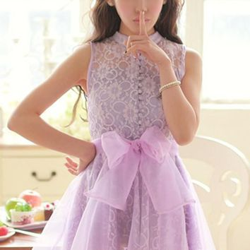Purple Plain Hollow-out Sashes Lace Dress