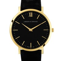 Larsson & Jennings Lugano 40mm Gold / Black Leather