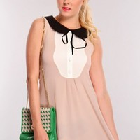 Beige Multi Peter Pan Collar Dress
