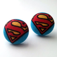 Superman S baby blue and red button earrings