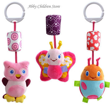 Baby Crib Stroller Toy 0-12 months Plush Owl Butterfly Ladybug Musical Infant Newborn Hanging Baby Rattle Soft Playpen Bed Pram