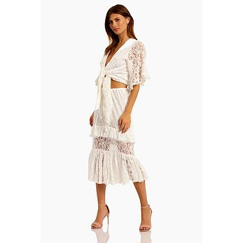 Sweet Thing Lace Ruffle Midi Skirt - White