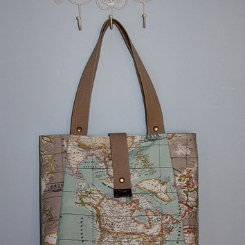 World Map Print Large Tote Bag- Blue -Beige Eco-friendly Purse-Shoulder Bag-Everyday Purse-Beach, Market,Travel Bag