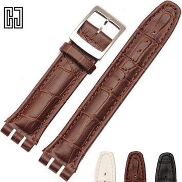 New Italian Leather Watch Band For Swatch Watches Strap Wrist Band 17 19 21 23 mm Watchband Straps Clafskin Men Women Watchband