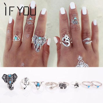 8PCS Set Fashion Vintage Bohemian Turkish Midi Ring Set Steampunk Snake Anillos Ring Knuckle Rings for Women Anel Joint Ring