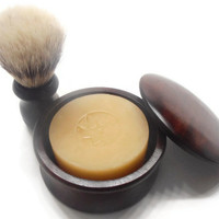 Valentine's Gift for HIM - Shaving Soap Set with Brush - Wooden Bowl with Lid - Brush - Soap - Choose your scent - Gift Wrapped TOO