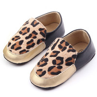 Leopard Print Toddler Baby Kids Girl Shoes Faux Leather Slip On Crib Shoes Prewalker 0-12M