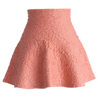 Daisy Embossed Skater Mini Skirt in Pink Pink S/M