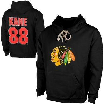 Old Time Hockey Patrick Kane Chicago Blackhawks Current Player Malcolm Skate Lace-Up Name & Number Pullover Hoodie - Black