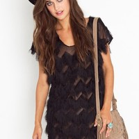 Penelope Fringe Dress - Black in  Clothes Dresses at Nasty Gal