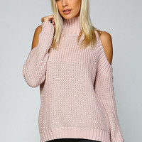 Cable Knit Cold Shoulder Sweater - Mauve