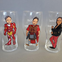 Hand painted bachelor party Personalized customized Beer glasses Handpainted to Likeness Superheroes Costumes