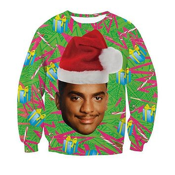Will Smith With Christmas hat Causal Hoodie Crewneck Fresh Prince Christmas Sweatshirt 3D Carlton Swetshirt Women Men Outerwear