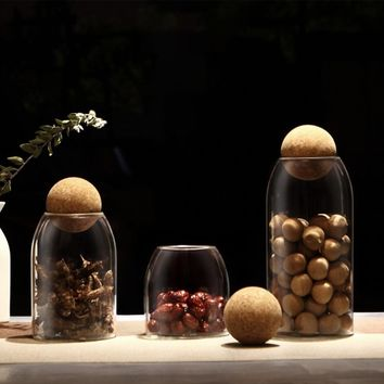 Creative Kitchen Glass Storage Canister Jars With Cork Ball Lid