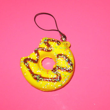2 Squishy  Kawaii Scented Donut cellphone  charms