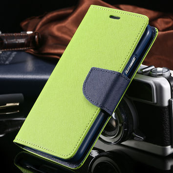 Note 2 Cases Hit Color Design PU Leather Flip Phone Case For Samsung Galaxy Note 2 N7100 Wallet Holster With Card Slot Cover Bag