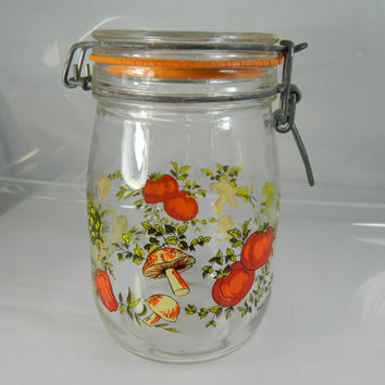 Vintage French Glass Canister Vintage Jar Storage