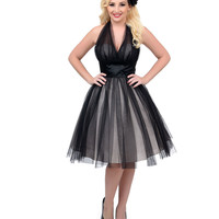 Unique Vintage 1950s Style Black & Nude Midtown Halter Swing Dress