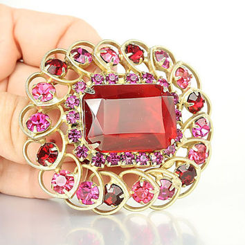 Juliana Red rhinestone Brooch, Pink Red Open Back crystal Brooch Gold Hearts