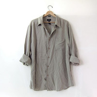 vintage oversized silk shirt. button down mens shirt. gray green silk shirt. minimalist shirt.