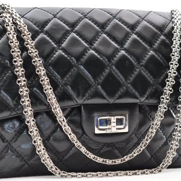 Auth CHANEL CalfSkin 2.55 Reissue Chain Shoulder Bag Black CC 42024