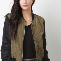 Quilted Zipped Up Bomber Puffer Jacket