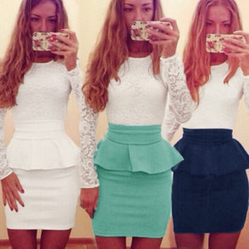 Fashion women lace top splicing skirt tight height waist pencil skirt mini skirts  G1129|MO02 = 1946720132