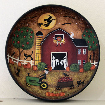 Halloween Folk Art Wood Bowl - READY TO SHIP - Primitive Red Barn, Witch on Tractor, Apple Tree, Ghosts, Black Cats, Pumpkins, Crow, Bats