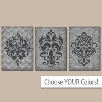 GRAY Wall Art, CANVAS or Prints, Charcoal Gray Bedroom Pictures, French Country, DAMASK Wall Art, Grey Bathroom Decor, Set of 3 Home Decor