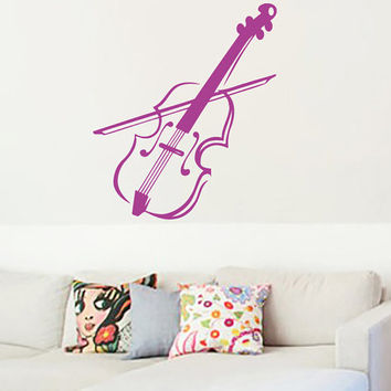 Violin Vinyl Decals Wall Sticker Art Design Living Room Modern Stylish Bedroom Nice Picture Home Decor Hall  Interior ki613