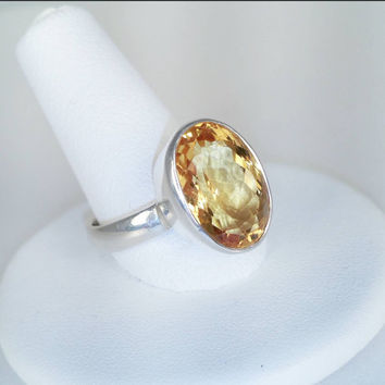 Sterling Citrine Ring 925 Silver Gemstone Faceted Brilliant Oval Cut Large Statement Ring Size 8