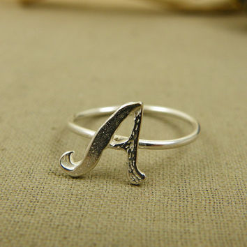 Personalized sterling silver letter ring , monogram letter ring , personalized jewelry , metalwork stracking ring