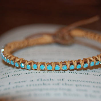 Turquoise Rhinestone Wrapped Leather by authenticaboutique on Etsy
