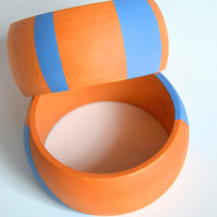High Contrast - Wood Bangles with Orange and Blue