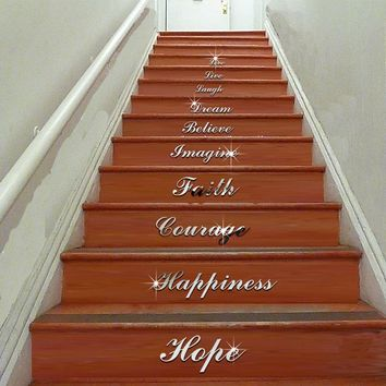 English Words Stairs Wall Sticker Home Mirror Decal Art Living Room Home Decor