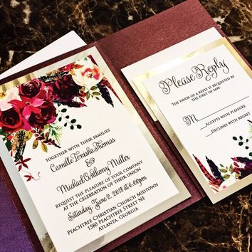 Marsala and Silver Elegant Pocketfold Wedding Invitation - CAMILLE VERSION