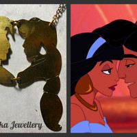 FREE SHIPPING, Aladdin and Jasmine necklace, Disney Aladdin necklace, Jin necklace, Disney jewelry, Disney charm, Disney princess