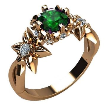 Filigree ring Gold ring Art Nouveau unique Engagement ring Solid Gold Emerald ring Flower design in Rose gold