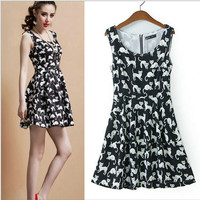 Black Cat Print Pleated Sleeveless Dress