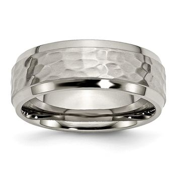 Men's Titanium Beveled Edge Hammered and Polished Wedding Band Ring