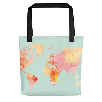 World Map Watercolor, Blush and Mint Palette, Tote bag