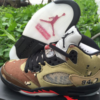 "Supreme x Air Jordan 5 ""Camo"" Unisex Basketball Shoes"
