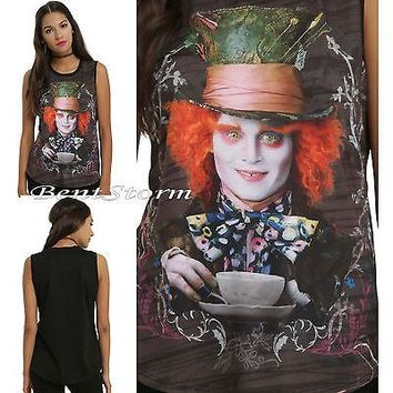 Licensed cool ALICE THROUGH LOOKING GLASS IN WONDERLAND MAD HATTER TEA CUP MUSCLE TANK TOP