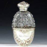 Antique Sterling Silver & Cut Glass Liquor / Whisky Flask, Dated 1901
